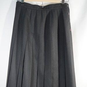 """Talbots Petites Black Wool Pleated skirt 30""""L"""